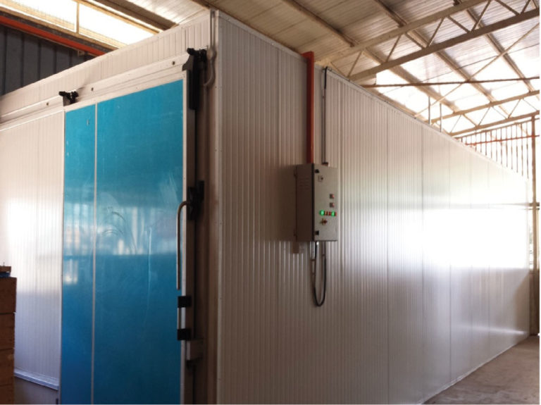 blue sliding door cold room