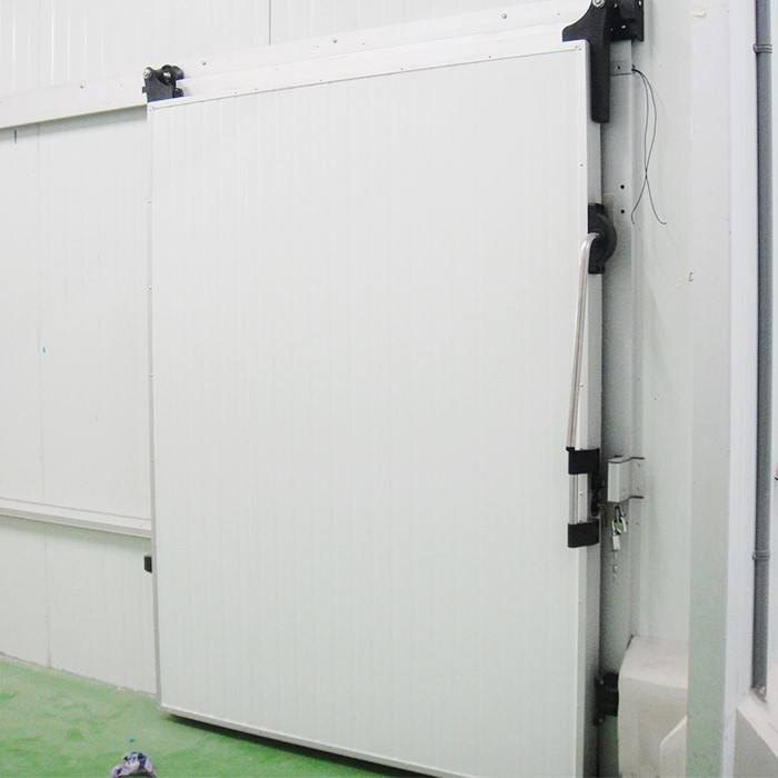 white cold room sliding door